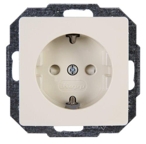 Kopp Paris Steckdose 1-fach, mit erhöhtem Berührungsschutz, creme-weiß, 920601086