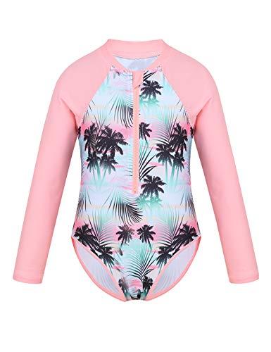 TiaoBug Mädchen Einteiler Badeanzug Palme Drucken Rash Guard Langarm Schwimmanzug mit Reisverschluss UV Schutz Bademode Rosa 146-152