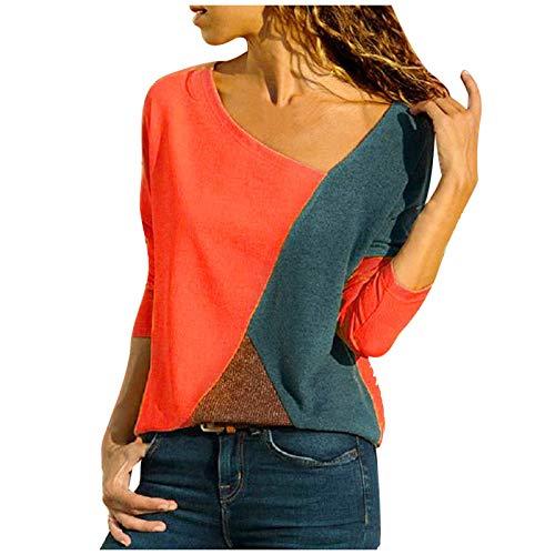 riou Camiseta Mujer Manga Larga Camisa Otoño Primavera Casual Color Bloque Blusa Cuello Redondo Sudadera Casual Tops Suave y Confortable Jersey