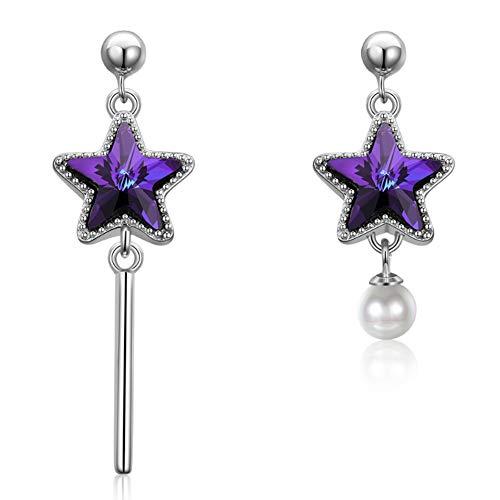 Pendientes de plata de ley S925 con diseño de pentagrama, perlas de color diamante asimétrico, incrustaciones de circonitas cúbicas brillantes 5A, hipoalergénicos, joyería para mujer (azul) morado)