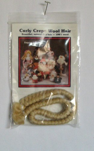 All Cooped Up CURLY CREPE WOOL DOLL HAIR: 12' BLONDE COLOR, 100% Wool, Triples in Length