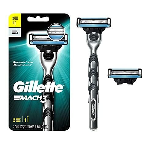 Gillette Mach3 Mens Razor, 1 Gillette Razor Handle Plus 2 Razor Cartridge Refills
