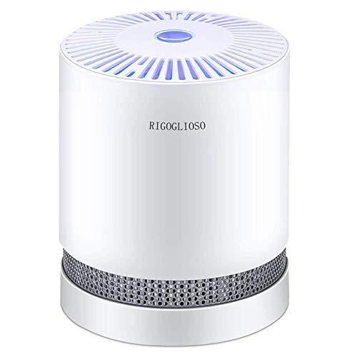 RIGOGLIOSO Luftreiniger Home with True HEPA-Filter, kompakter Tischreiniger, Filtration mit Nachtlicht, kein Ozon, Air Purifier für PM2.5, Allergien, Haustierschuppen, Kochen, Raucher, Staub