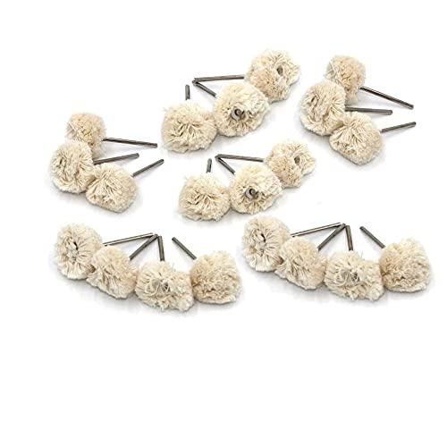 Luo ke 20 Pcs Cotton Polishing Wheel 3 mm Shank Mounted Soft Wool Fine Buffing Wheels Fits for Dremel Or Mini Grinder, Mini Drill