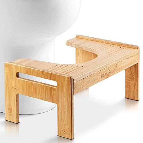 Top Life Physiologischer Toilettenhocker aus Bambus – WC-Trittbrett aus Holz – Fußstütze mit Einstellbarer Höhe – Damm- und Verstopfungsbehandlung, von Ärzten empfohlen