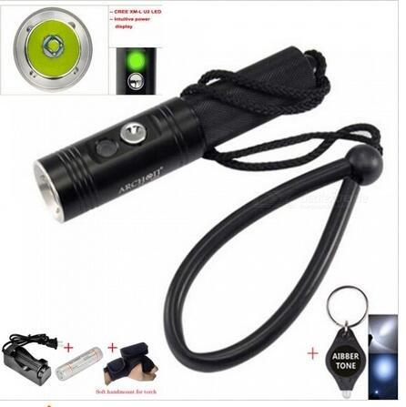 Archon V10s étanche XM-L U2 Max professionnel 860lm 3 modes plongée lampe torche LED Lampe torche avec batterie + chargeur