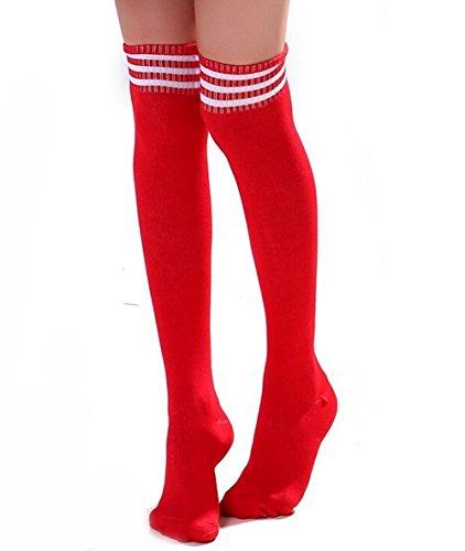 Haifly Damen Streifen Overknee Überknie Strümpfe Socken Kniestrümpfe Knie Socken Baseball Gestreift Socken Rot Weiß