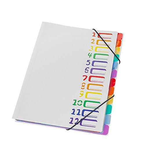 ドキュメントファイル A4 12ポケット 書類 分類 ファイルケース 持ち運び (白ー12ポケット)