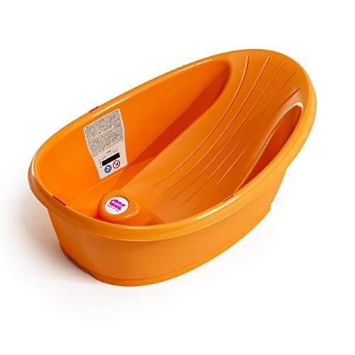 OKBABY Bañera Onda Baby - Base antideslizante, con termómetro digital de cristal líquido incorporado - Soporte trasero en ángulo - Se adapta al inerior de la bañera o la ducha - Naranja