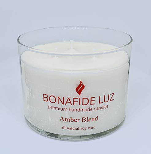 Bonafide Luz Handmade Soy Wax Candle-AmberBlend-Short Clear Glass with lid