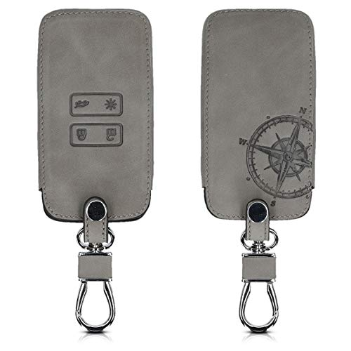 kwmobile Funda Compatible con Renault Llave de Coche Smart Key de 4 Botones (Solo Keyless Go) - Case de Piel de Nobuck sintética para Mando de Coche - Aguja magnética Gris
