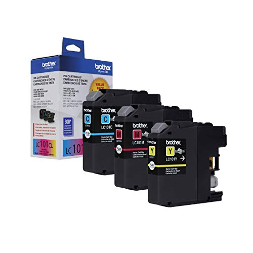 Brother Genuine Standard Yield Color Ink Cartridges, LC1013PKS, Replacement Color Ink Three Pack, Includes 1 Cartridge Each of Cyan, Magenta & Yellow, Page Yield Upto 300 Pages/Cartridge, LC101