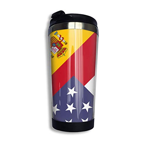 tenghanhao Tazza da caffè America Spain Flag Coffee Cup Stainless Steel Travel Travel Mug Cup Water Bottle for Keep Hot Or Cold