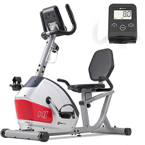 Hop-Sport Liegeergometer HS-035L Solo - Sitz-Heimtrainer für Senioren - Liegefahrrad belastbar bis 135kg - liegend Fahrradtrainer für zuhause Silber