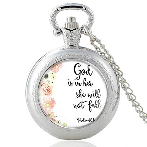 ZDANG Versículo bíblico Retro Dios está en Ella, Ella no va a ser pálida Reloj de Bolsillo de Cuarzo con cabujón de Cristal Vintage Hombres Mujeres Cadena Colganteun Buen Regalo