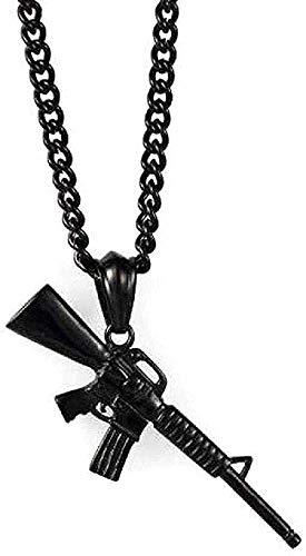 Yiffshunl Collar Acero Inoxidable Policía Collar Accesorios Hombres Rifle Hip Hop Collar Colgante Acero Titanio Blanco-Negro Regalo para Mujeres Hombres Chica Collar Niño