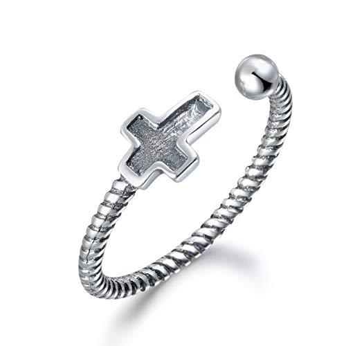 SNORSO Anillo de plata de ley apilable con cruz moderna religiosa ajustable