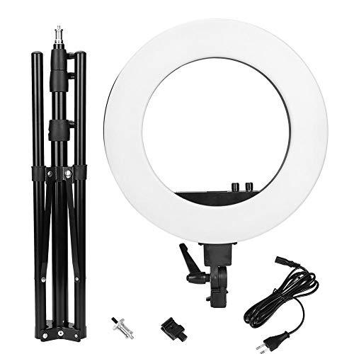 Tanke Anillo de luz de Estudio 18 Pulgadas 3200K-5600K CRI 90+ Regulable Anillo LED Luz de Relleno de Video Soporte de lámpara Plegable 2M Negro