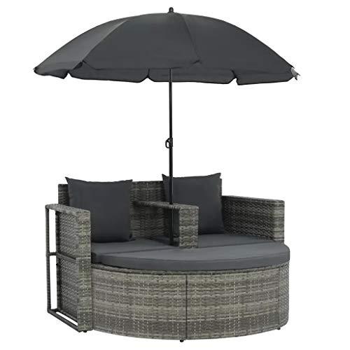 SUNLIGHT-Gartenlounge con Sonnenschirm Poli Rattan Lounge guarnición Gartenmöbel