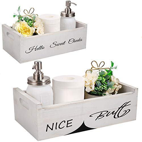 Farmhouse Bathroom Decor Box - Nice Butt Funny Signs 2 Sides for Home Decor, Rustic Bathroom Accessories Handmade Splice Toilet Tank Tray for Storage Toilet Paper, Diaper, Aromatherapy (White)