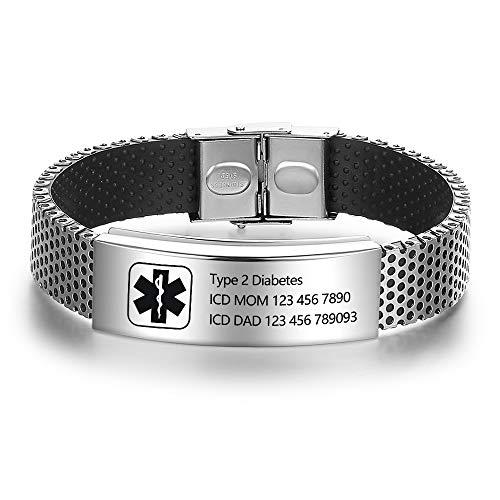 DaMei Notfall Herren Frauen Armband Gravur Personalisierte mit Medical Alert ID SOS Armband Epilepsie Notfallarmband Erwachsene Edelstahl Medizinische id Armband Geschenk fur Geburtstag (with Logo)