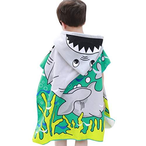 WYTbaby Kinder Kapuzen Bademantel Badetuch, Jungen Mädchen 100% Baumwolle Bade Handtücher Saugfähige Handtücher für Schwimmen Strand Surf Poncho Kinder Nachtwäsche