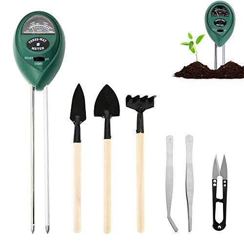 Medidor de Suelo, 7 pcs conjunto de herramientas Bonsai Kit mini herramientas, Incluye medidor de Humedad 3 en 1, Mini rastrillo, Brote y recortador de Hojas, Miniherramientas de trasplante