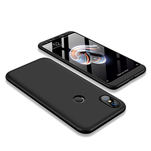 BCIT Xiaomi Mi 6X / A2 Funda Funda Xiaomi Mi 6X / A2 360 Grados Integral para Ambas Caras + Cristal Templado, Luxury 3 in 1 PC Hard Skin Carcasa Case Cover para Xiaomi Mi 6X / A2 (Negro)