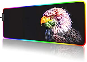 RGB Mouse Pad,Gaming Mouse Pad RGB,Cool Animal LED Mousepad-14 Light Modes Soft Non-Slip Base Large LED Mouse Mat for Laptop Computer PC Games 31.5 X 12 inches (RGB Eagle Mouse Pad)
