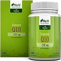 Co-enzym Q10 | CoQ10 Capsules Hoge Dosis 200mg per Capsule | Premium CoQ10 verkregen door plantaardige fermentatie | 50% MEER 180 capsules (5 maanden op voorraad) | veganistisch | gemaakt in Duitsland*