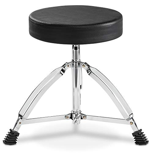 LyxJam Drum And Keyboard Throne Stool Padded Soft Seat Height Adjustable Portable Foldable Drummer Seat For Kids And Adults