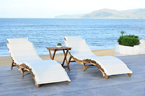 Safavieh Outdoor Collection Pacifica Natural and Beige 3-Piece Lounge Set