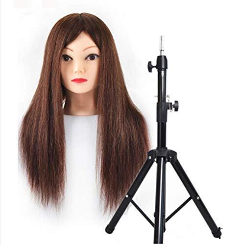 Coiffer Coiffure Femme Mannequin 99% Vrais Cheveux + Support + Accessoires Tête De Mannequin Femme Formation Beauté Maquillage Étudiant,Marron