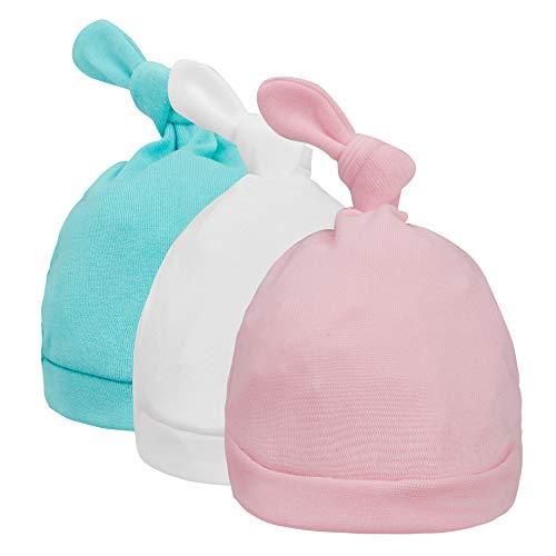Atuka 2/3 Pack de gorro de bebé nacimiento sombrero de algodón recién nacido regalo para niños niñas de 0 a 6 meses 3pcs Rose&bleu&blanc Talla única
