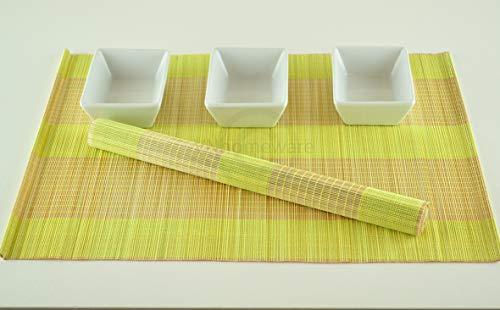 6 faite à la main en bambou Sets de table, sets de table, Lot de 6, Yellow-cream, P007