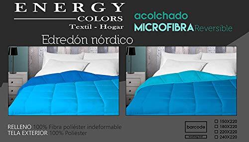Energy Colors Textil - Hogar Relleno, Edredón nórdico Bicolor/Reversible 350 Gramos (Azul - Turquesa, Cama 90 (150 x 220 cm))