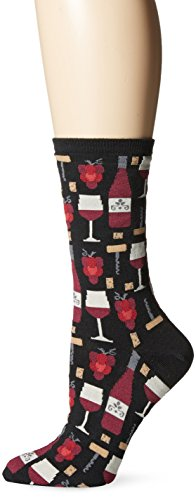 Hot Sox Women's Food and Drink Novelty Casual Crew Socks, Wine