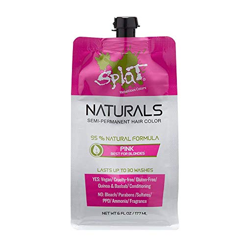 Splat Naturals, Semi-Permanent Pink Hair Dye : 100% Vegan, Cruelty-Free, No Bleach Required, Free of Ammonia, PPD, Parabens & Sulfates - 6 Oz