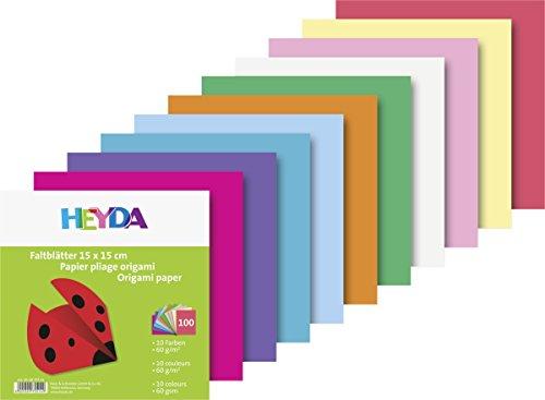 Heyda 204875514 Faltblatt (Papier, 15 x 15 cm, 10 Farben sortiert, 100 Blätter)
