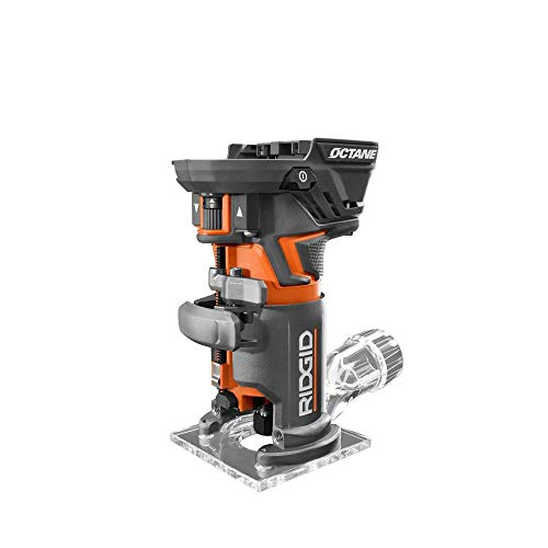 Ridgid 18-Volt OCTANE Cordless Brushless Compact Fixed Base Router with 1/4 in. Bit, Round and Square Bases, and Collet Wrench