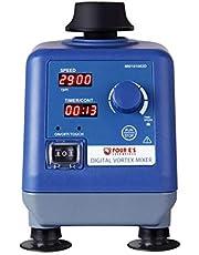 Four E'S Scientific Vortex Mixer schudder, digitaal display, instelbaar, 0-3000 rpm, 50 ml, laboratoriumschudder met Φ6 mm Orbit, pers-to-mix of permanente functie, timer voor laboratoriumbuisjes