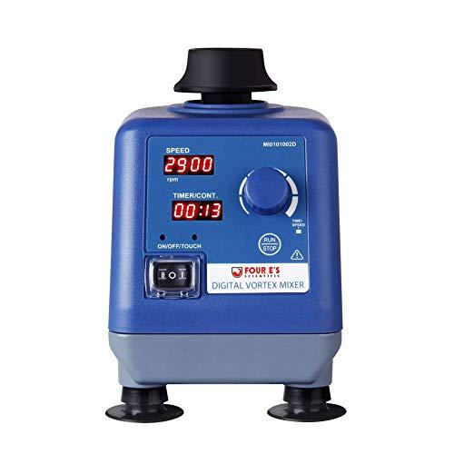 Four E'S Scientific Multifunktions Vortex Mixer Schüttler Digital Anzeige 0-3000UpM 50mL Laborschüttler mit Φ6mm Orbit, Press-to-Mix oder Dauerfunktion Timer für Laborteströhrchen
