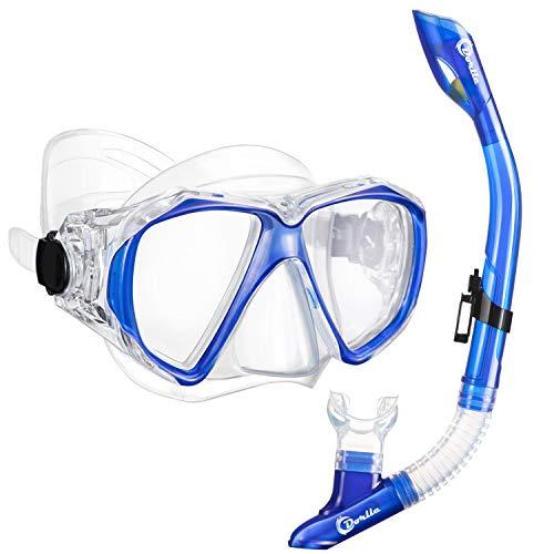 Dorlle Schnorchel Dry Schnorchelset Schnorchelmaske, Premium Erwachsene Schnorchel Tauchset mit Taucherbrille und Anti-Leck Anti-Fog Tauchmaske, Blau, Schwarz (Sets-Klar/blau)
