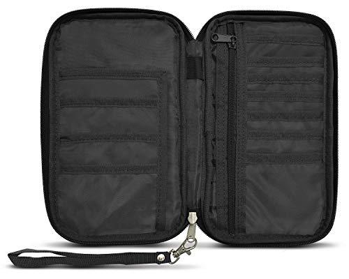 RFID Travel Passport & Document Organizer Zipper Case, Black