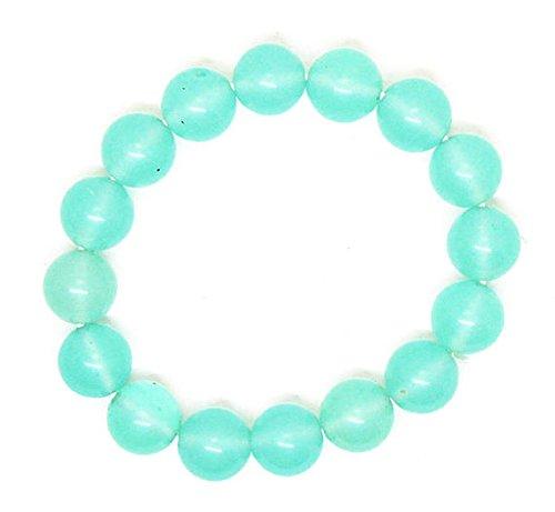 GFJ Armband für Damen und Herren, natürlich, blau, Chalzedon, 12 mm, rund, glatt, dehnbar, 17,8 cm