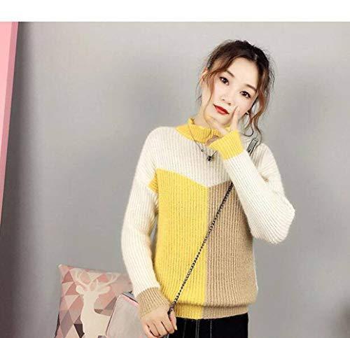 Damestrui en trui voor herfst en winter, met kattenmotief, halfrond, geometrische trui voor dames Eén maat Geel