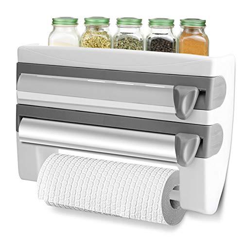 Cocoarm Wandrollenhalter Frischhaltefolie Lagerregal Multifunktionale Storage Rack Küche Badezimmer Frischhaltefolie Tissue Storage Rack Papierhalter Folienschneider mit Abstellfläche (Grau)
