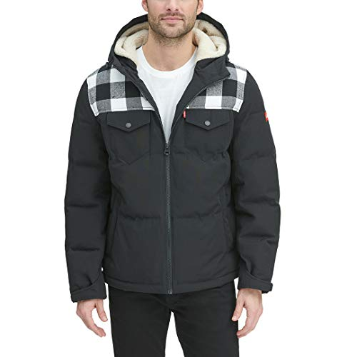 Levi's Men's Heavyweight Mid-Length Hooded Military Puffer Jacket, White Plaid/Black, X-Large