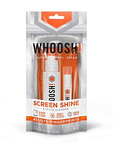 WHOOSH! Award-Winning Screen Cleaner – Safe for All Screens – Smartphones, iPads, Eyeglasses, Kindle, LED, LCD & TVs – Includes 3.4 Oz, 0.3 Oz + 2 Premium Antimicrobial W! Cloths
