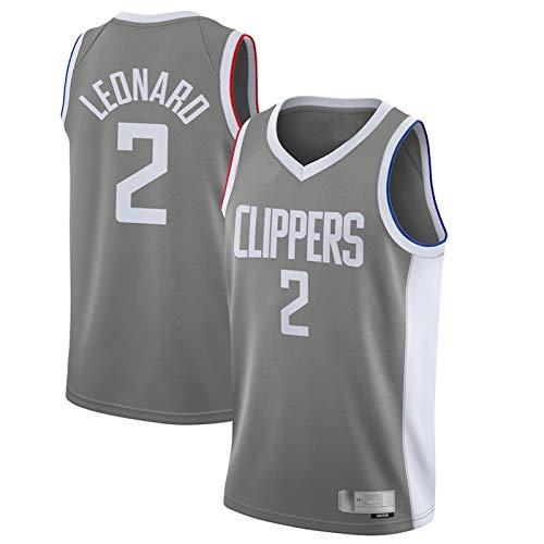 Kawhi Leonard Jersey LA 2020/21 Temporada Clippers Swingman #2 Malla Malla Jersey de Secado Rápido Chaleco Para Hombres Gris - Edición Ganada